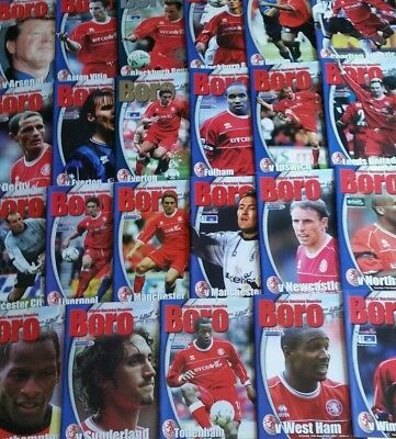 2001-02 MIDDLESBROUGH FC HOME FOOTBALL PROGRAMMES - Your choice - FREE Postage