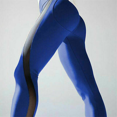 Sports Womens Mesh Leggings Fitness Workout Pants Yoga Slim Fit Gym Trousers New