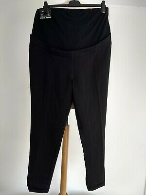 BNWT New Look Maternity Cotton Slim Bootcut Trousers Black Stretch Size 16 32""