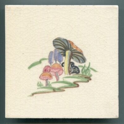 """Handpainted 6""""sq tile from the """"Wild Flowers"""" series by Packard & Ord, 1945/6"""