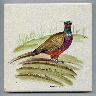 "Handpainted 6""sq tile from the ""Game Bird"" series by Packard & Ord, c1960"