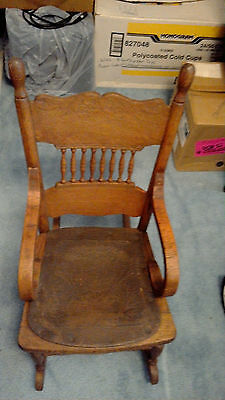 Child's Rocking Chair Vintage Wooden with Leather Seat