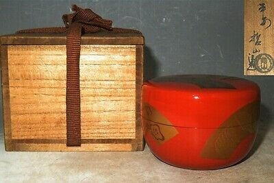 Japanese Tea caddy Natsume makie Lacquer Urushi Wooden araishunuri  obira