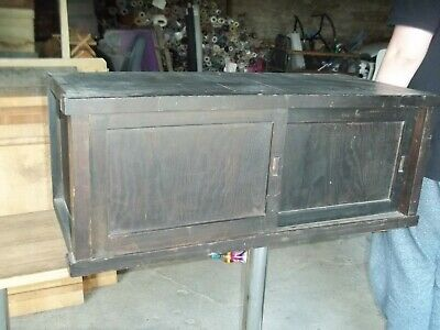 Large Antique 19Th Century Japanese Wood Tansu, Cuboard Section, Bathroom