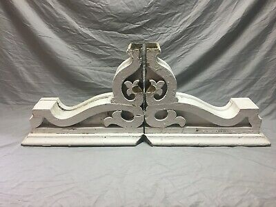 Pair Large Antique White Roof bracket Corbels Shabby Vintage Chic Old 59-19M