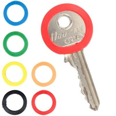 24x KEY CAPS Coloured ID Tag Home House Front Back Door Identifier Round Circle