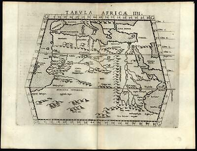 Northern Africa Mts. of Moon as Nile source Ptolemy 1562 Ruscelli Valgrisi map