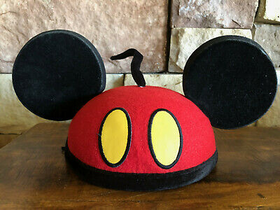 Disney Parks Mickey Mouse Red Pants Yellow Button Mickey Mouse Ears Hat One Size