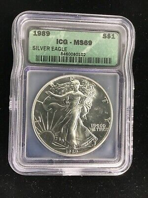 1989 $1 ICG MS69 (Mint State, BU, Uncirculated) ASE American Silver Eagle .999
