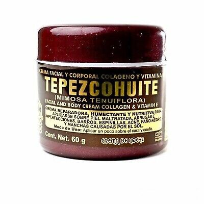 1- Tepezcohuite Cream, Collagen and Vitamin E, 60g. OF THE INDIAN PAPAGO.