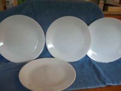 """Set 4 Corelle WINTER WHITE FROST Corning Ware 10 1/4"""" Dinner Plates Dishes"""