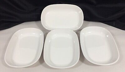4 Corning Ware P-140-B Sidekicks Snack Plates White for Oven Microwave Excellent