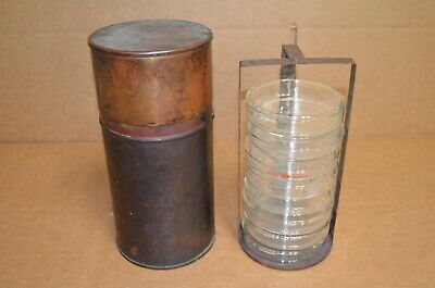 Vintage! Copper Glass Petri Dishes Holder Labware - Trench Art