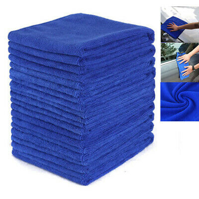 10 Pcs Absorbent Microfiber Towel Car Home Kitchen Washing Clean Wash Cloth Blue