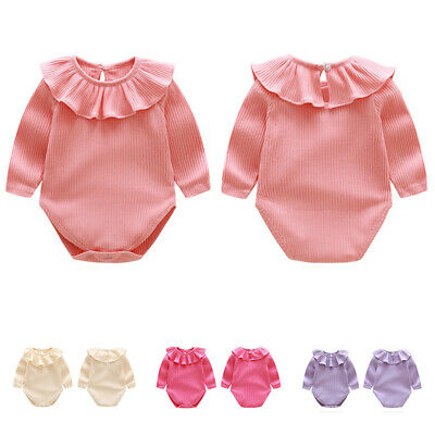 Girls Kids Knitted Romper Newborn Baby Clothes Girls Long Sleeve Jumpsuit