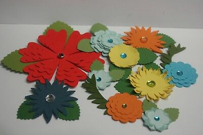 Handmade Paper Flower Embellishments  Scrapbooking card making 7