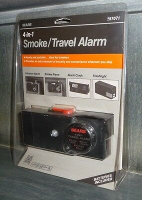 Sealed SEARS 4-in-1 TRAVEL INTRUSION / ALARM CLOCK + SMOKE DETECTOR & FLASHLIGHT