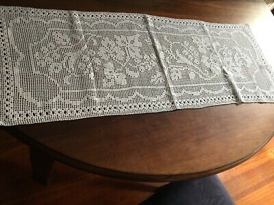 vintage White crochet runner