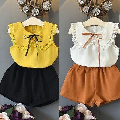 hinfaesn Fashion Girls Clothes Sets Summer Sweet Sleeveless Lace Bow Tops+C W4J6
