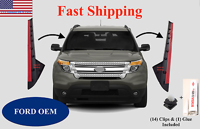11-19 Ford Explorer Windshield Outer Trim Pillar Molding Pair L R +1Glue+14Clips