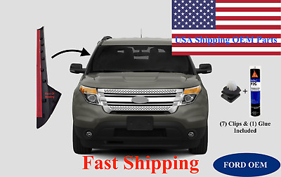 11-19 Ford Explorer Windshield-Outer Trim Pillar Molding Right Side W/ Glue+Clip