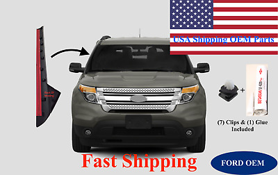 11-19 Ford Explorer Windshield-Outer Trim Pillar Molding Right Side W/ DOW +Clip