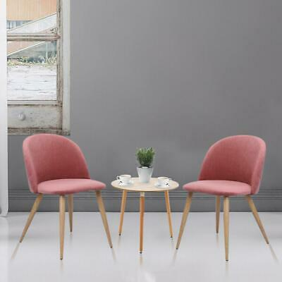 Set of 2 Mid Century Style Dining Chair Upholstered Chairs w/ Wood Legs Pink