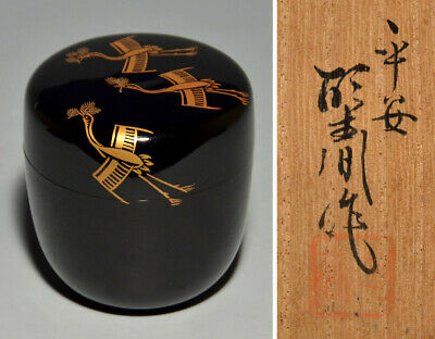 Japanese Tea caddy Lacquer makie  Natsume urushi Wooden crane lacquer