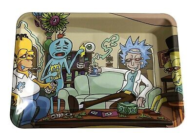 "Rick and Homer Rolling Tray Mini Rolling Tray 5""x7"""