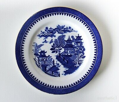 Royal Worcester - Antique Blue & White Willow Pattern Plate, Gilt Edge c1891.