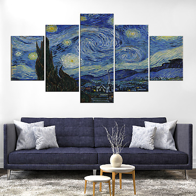 Vincent Van Gogh Starry Night Canvas Print Painting Framed Home Decor Wall Art