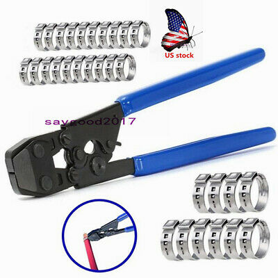 US Pex KIT Crimper e Crimping Tool Pipe Tube Plumbing Cutter W/35Ring cinch clam