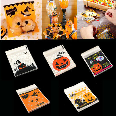 Halloween Self Adhesive Cello Cellophane Trick Or Treat Candy Cookie Bag 100 Pcs