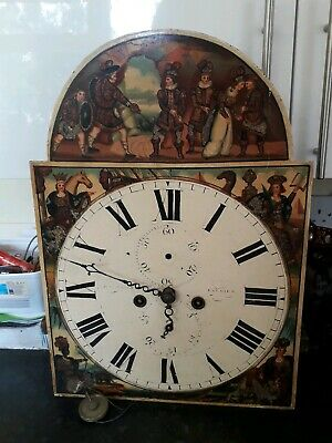 Antique longcase grandfather clock Dial and Movement Spares or repair