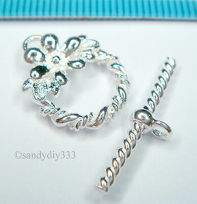 1x STERLING SILVER BRIGHT FLOWER TOGGLE CLASP 13mm #1399
