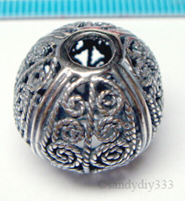 1x BALI OXIDIZED STERLING SILVER FLOWER FILIGREE ROUND SPACER BEAD 18mm J157
