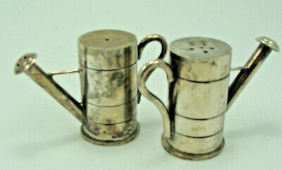 Silver Metal Watering Can Shaped Salt & Pepper Shakers C26