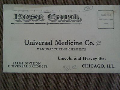 Rare 1910 Postcard Ad Universal Medicine Chemists Drugs Stomach Pain Tea Chicago
