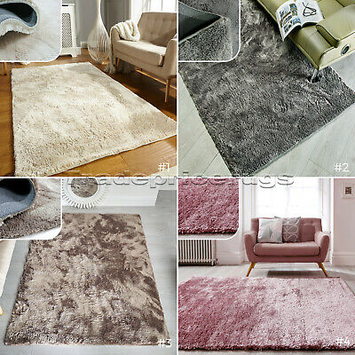 Small & Large Crushed Velvet Effect Medium-Pile Silky Soft Shaggy Rug Promo Sale