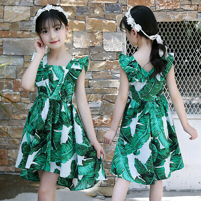 New Kids Teen Children Girls Sleeveless Ruched Summer Party Dress Casual Clothes