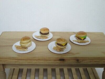 DOLLS HOUSE MINITURE FOOD 4 DIFFERENT BURGERS AND FRIES- 1/12TH SCALE-handmade