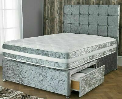 "New Crushed Velvet Divan Bed With Matching Mattress And Free 20"" Plain Headboard"