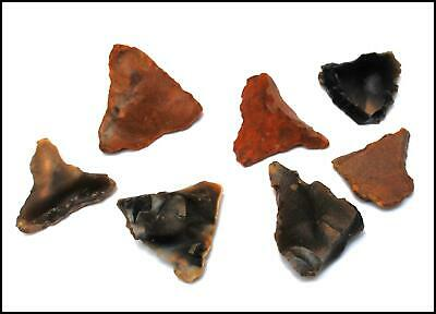 7 neolithic point kite arrowhead spear flint knapped british arrow prehistoric