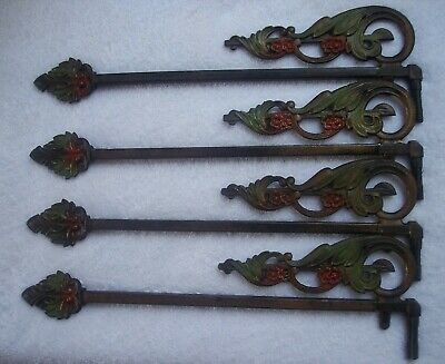 4 Antique Swing Arm Curtain Rods - Art Deco Decorative Cast Iron w/ Brackets