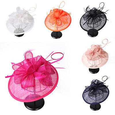 Lily Flower Headband Feathers Mesh Hat Fascinator Wedding Party Hair Accessories