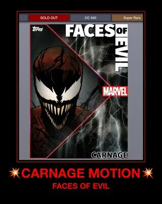 Topps Marvel Collect Digital Trader CARNAGE Faces of Evil MOTION CARD FOE 500cc