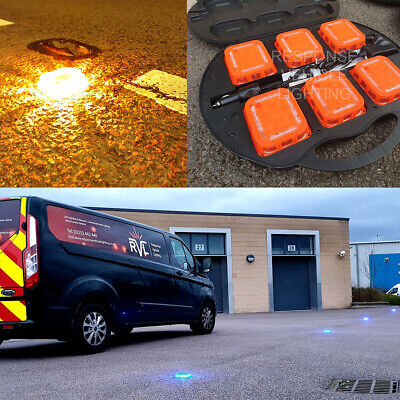 6 x Amber Synchronised Rechargeable Safety LED Road Flares Kit Beacon Light Bars
