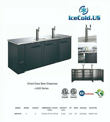 Commercial Kegerator 2 Towers, Stainless Steel Beer Cooler 3 Doors