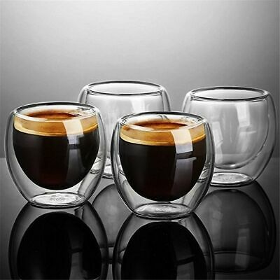 Double Wall Glass Coffee Cups Espresso Tea Latte Cappuccino Mugs 80/250/350/450