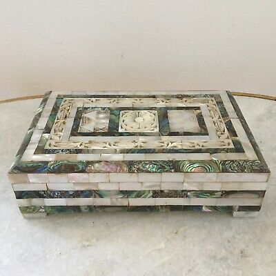 Vintage Carved Abalone & Mother of Pearl Mosaic Inlaid Trinket Dresser Box Rare